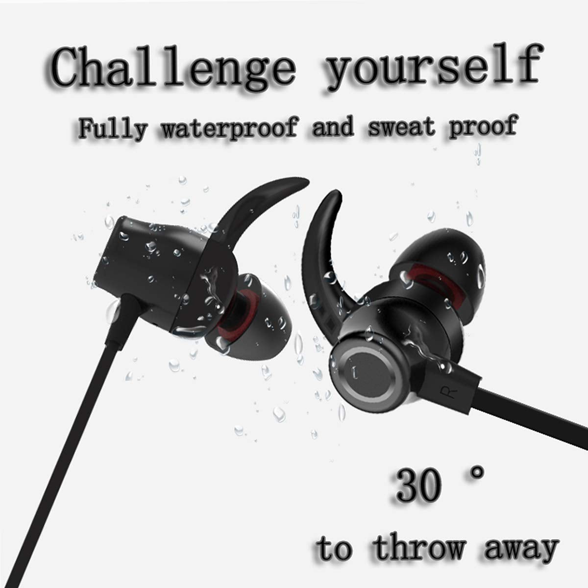 Wireless Headphones Bass Earbuds with Mic Bluetooth V5.0 Noise Cancelling in-Ear Sweatproof Earphones