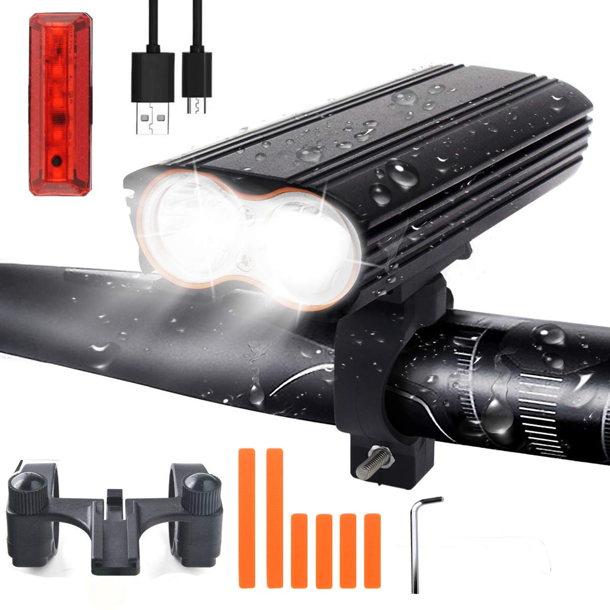 USB Rechargeable LED Waterproof Bike Light Set for Night Rider and Camping