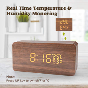 Three Levels Adjustable Brightness Voice Touch Activated Show Time Date Week Humidity Temperature USB LED Wooden Digital Alarm Clock
