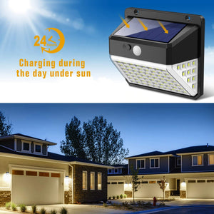 Upgraded [82 LEDs] Waterproof 270°Angle Wall Wireless Security Night  Solar Lights Outdoor