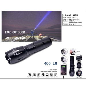 USB Rechargeable Portable High Lumen Tactical Led Flashlight