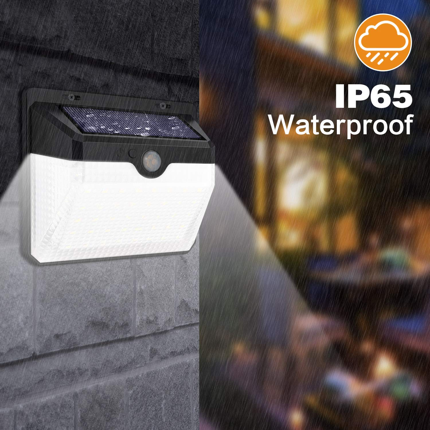 Waterproof 270° Wide Angle Security Wireless Wall Solar Lights Outdoor [60 LEDs]
