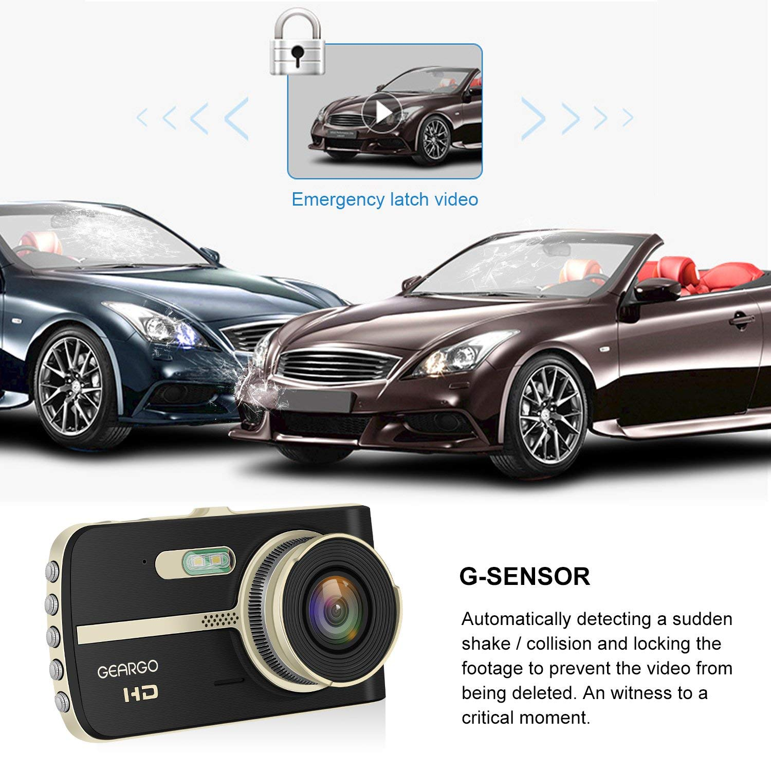 1080P HD Front and Waterproof Rear Car Camera,Night Vision DVR Dashboard Camera, Video Recorder On-Dash Dual Cam for Cars