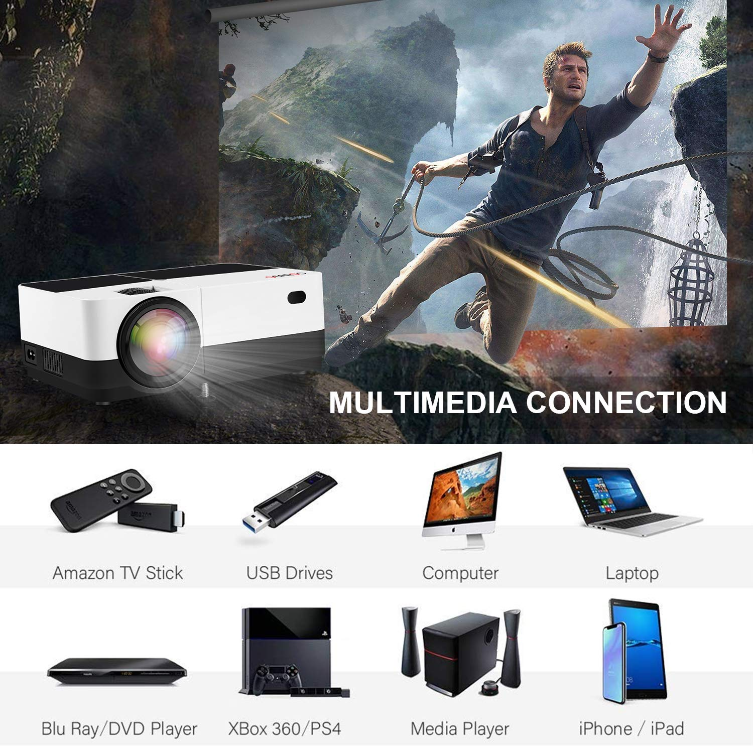 GEARGO HD Mini Projector, Upgrade 2800 Lumens Video Projector Supports 1080P 50000 Hours LED Life