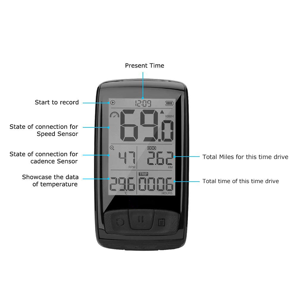 Bluetooth Wireless Bike Computer Accurate Speed Tracking Waterproof Bicycle Speedometer & Cycling Odometer with Bracket