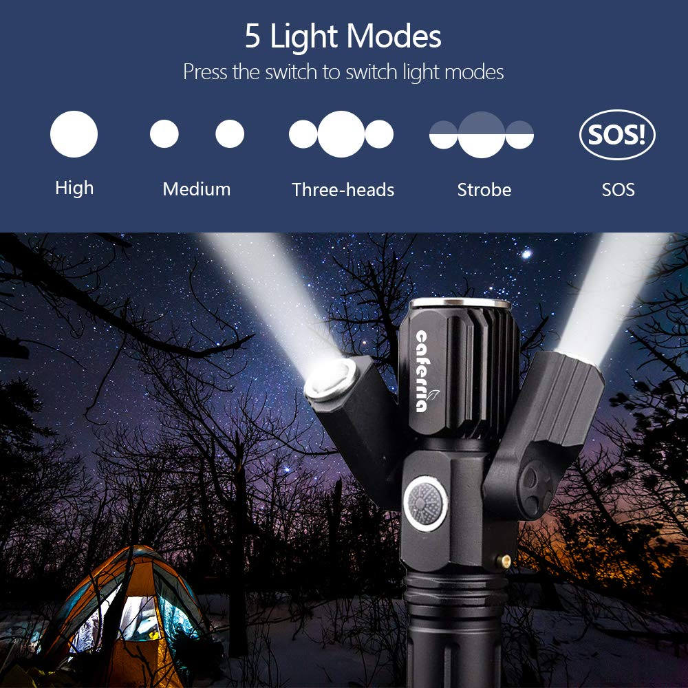 1000 Lumen Ultra-Bright Rechargeable Waterproof Multi-Function LED Tactical Flashlight