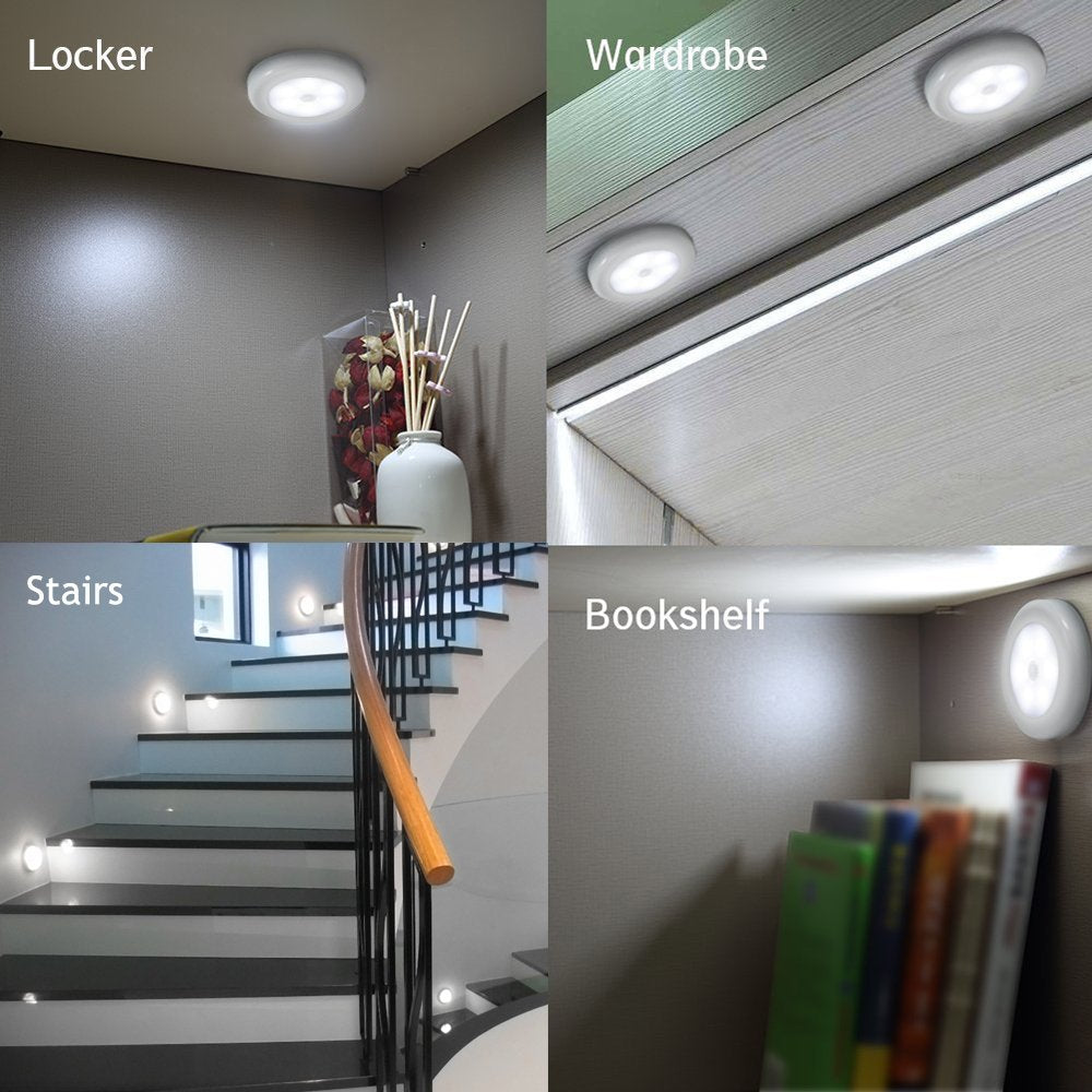 Super Bright LED Motion Sensor Lights - Cordless Battery Powered Built-in Magnets Optional Sticky Pads - Motion Sensing Bathroom Hallway Closet Nightlight (6 Pack)