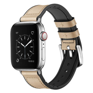 Apple Watch Band 42mm 44mm 38mm 40mm Sweatproof Genuine Leather and Rubber Hybrid Band Strap