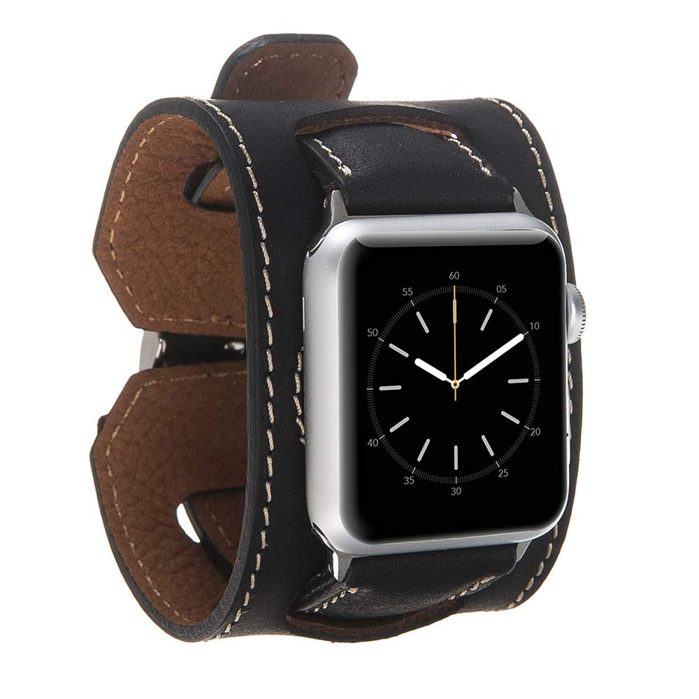 Leather Band Compatible with Apple Watch | Handmade Genuine Leather Replacement Cuff for iWatch Series 4 (40mm) / Series 3 Series 2 Series 1