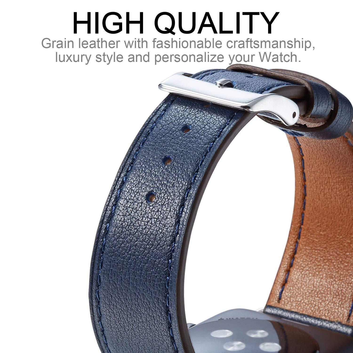 Apple Watch Band  Genuine Leather Watch Strap Compatible with Apple Watch Series 1 2 3 4
