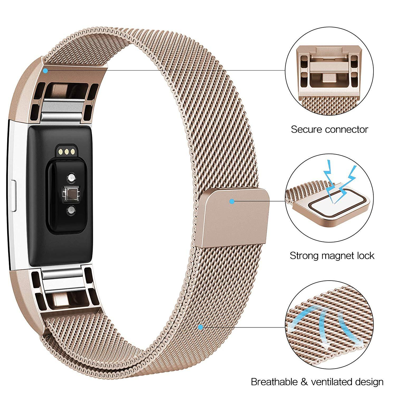 Fitbit Charge 3 Bands Milanese Stainless Steel Metal Magnetic Replacement Wristband