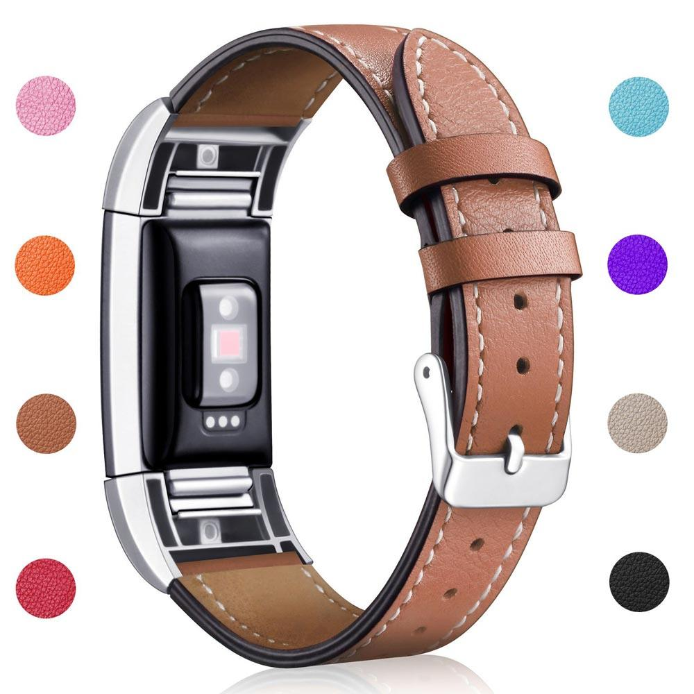 Fitbit Charge 3 Replacement Bands, Classic Genuine Leather Wristband Metal Connectors, Fitness Strap for Fitbit Charge 3 Fitness Tracker