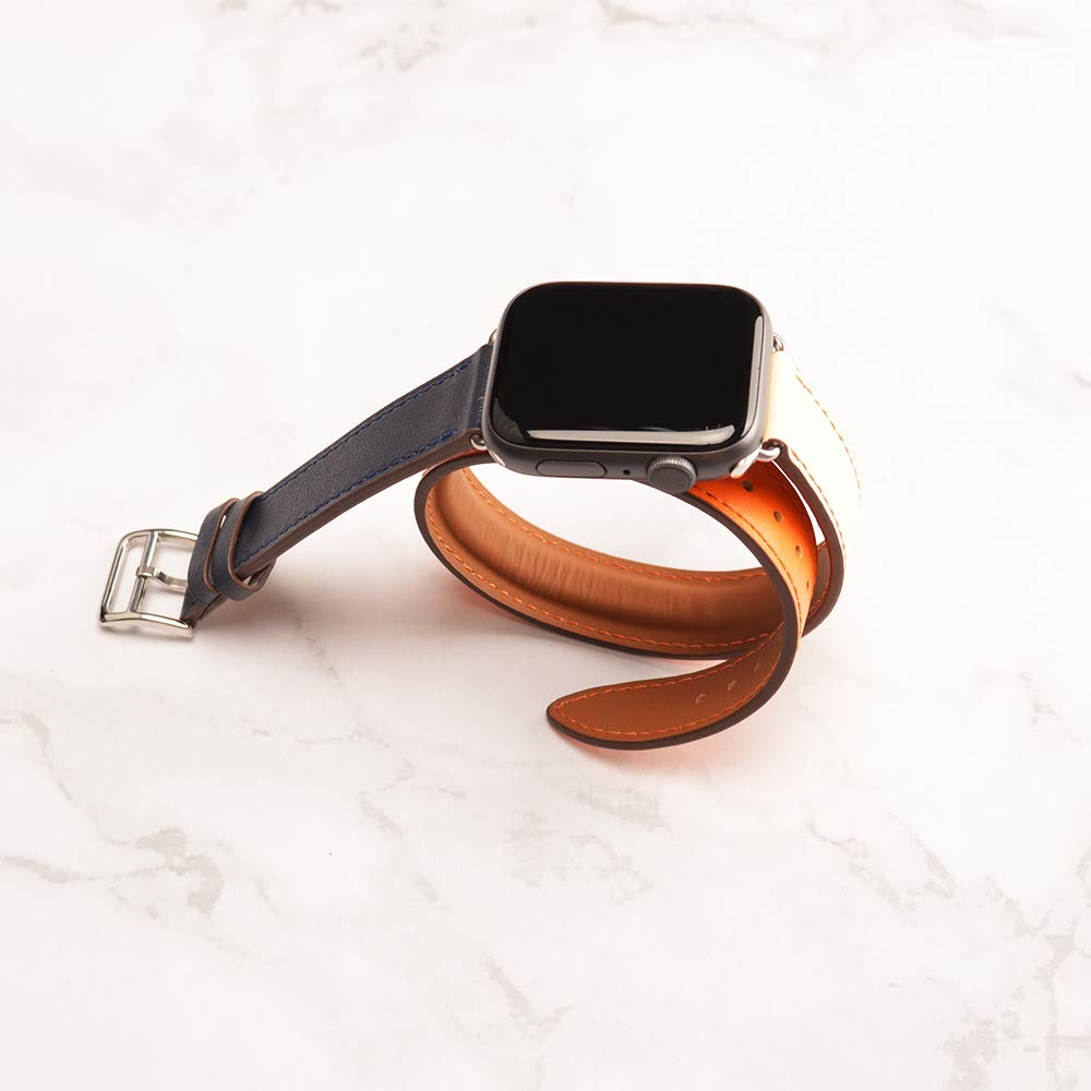 44mm/42mm Leather Band, Double Tour Men Women Loop Leather Replacement Wristband Compatible with Apple Watch Series 4 40mm/44mm Series 4 3/2 / 1