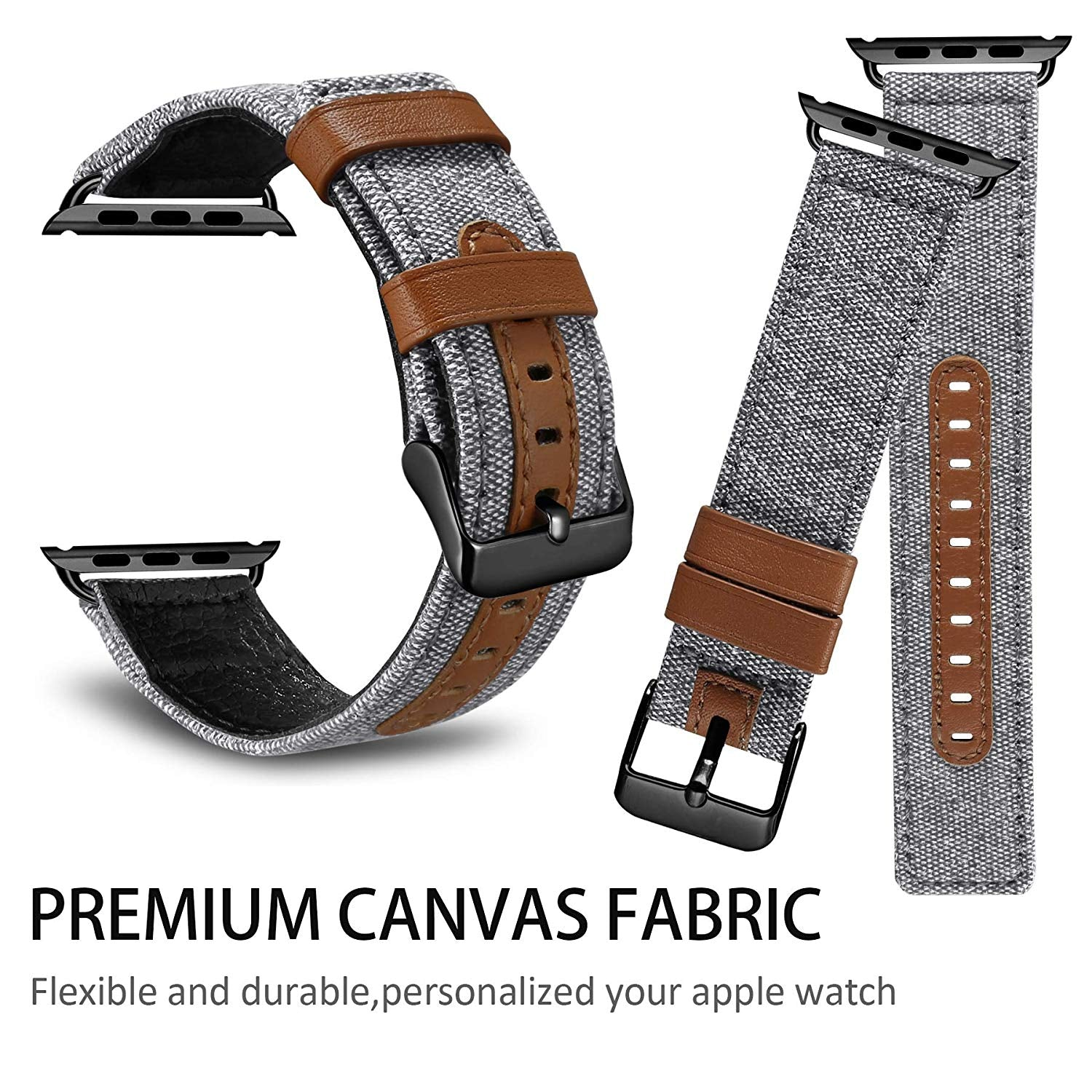 Apple Watch Bands 38mm 40mm 42mm 44mm Straps Elegant Denim Fabric with Genuine Leather