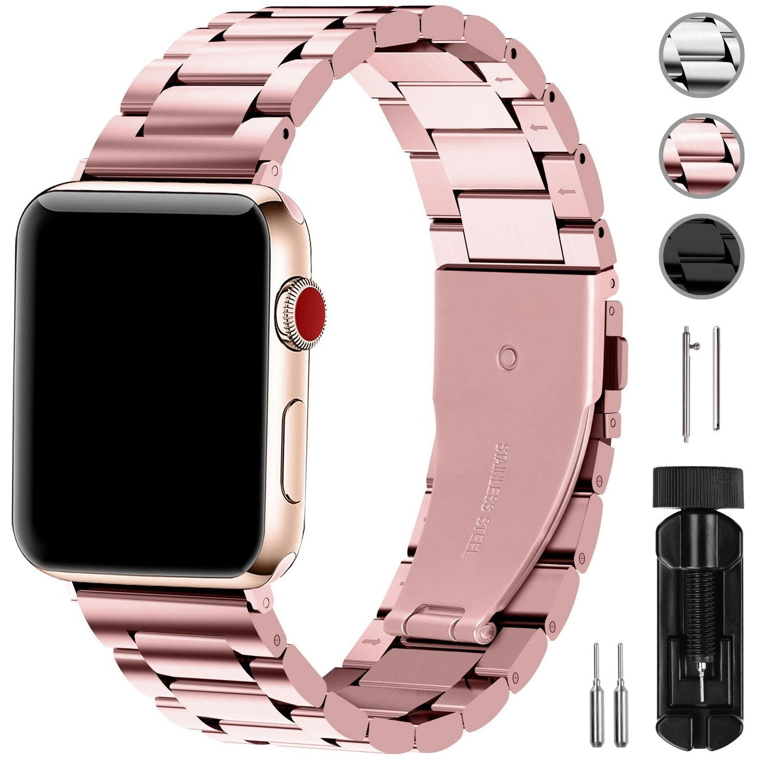 Apple Watch Band Sport Stainless Steel Metal Replacement Strap with Adapter Compatible Apple Watch Series 1 2 3 4
