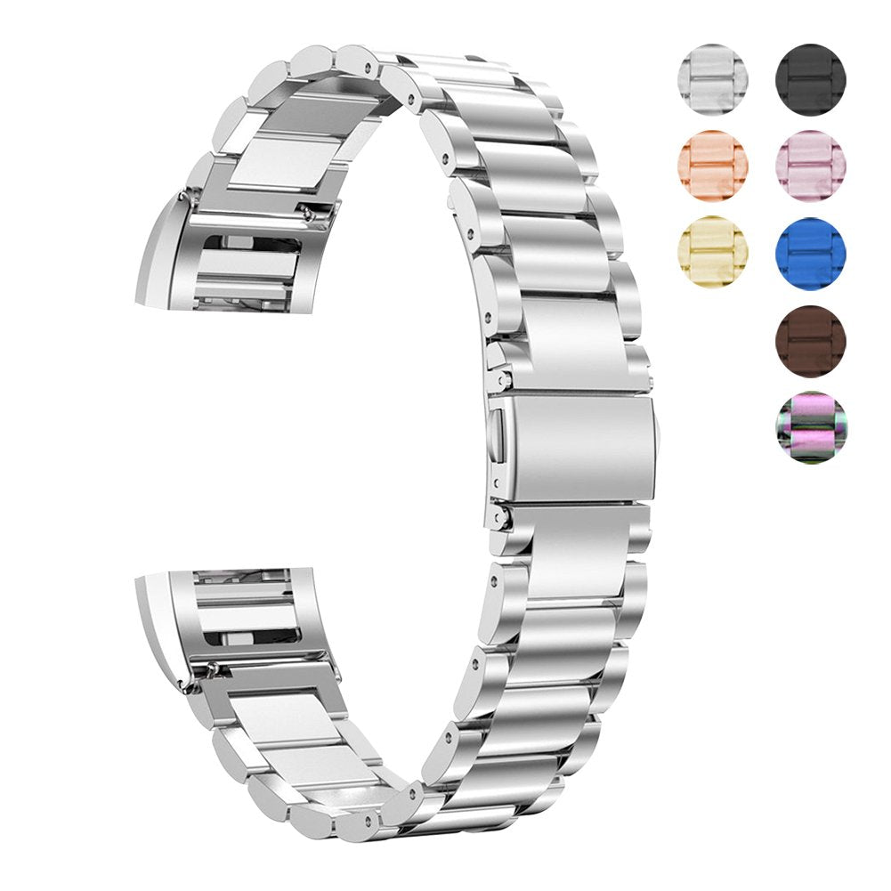 Fitbit Charge 2 Wrist Band Stainless Steel Metal Replacement Smart Watch Band Bracelet with Double Button Folding Clasp