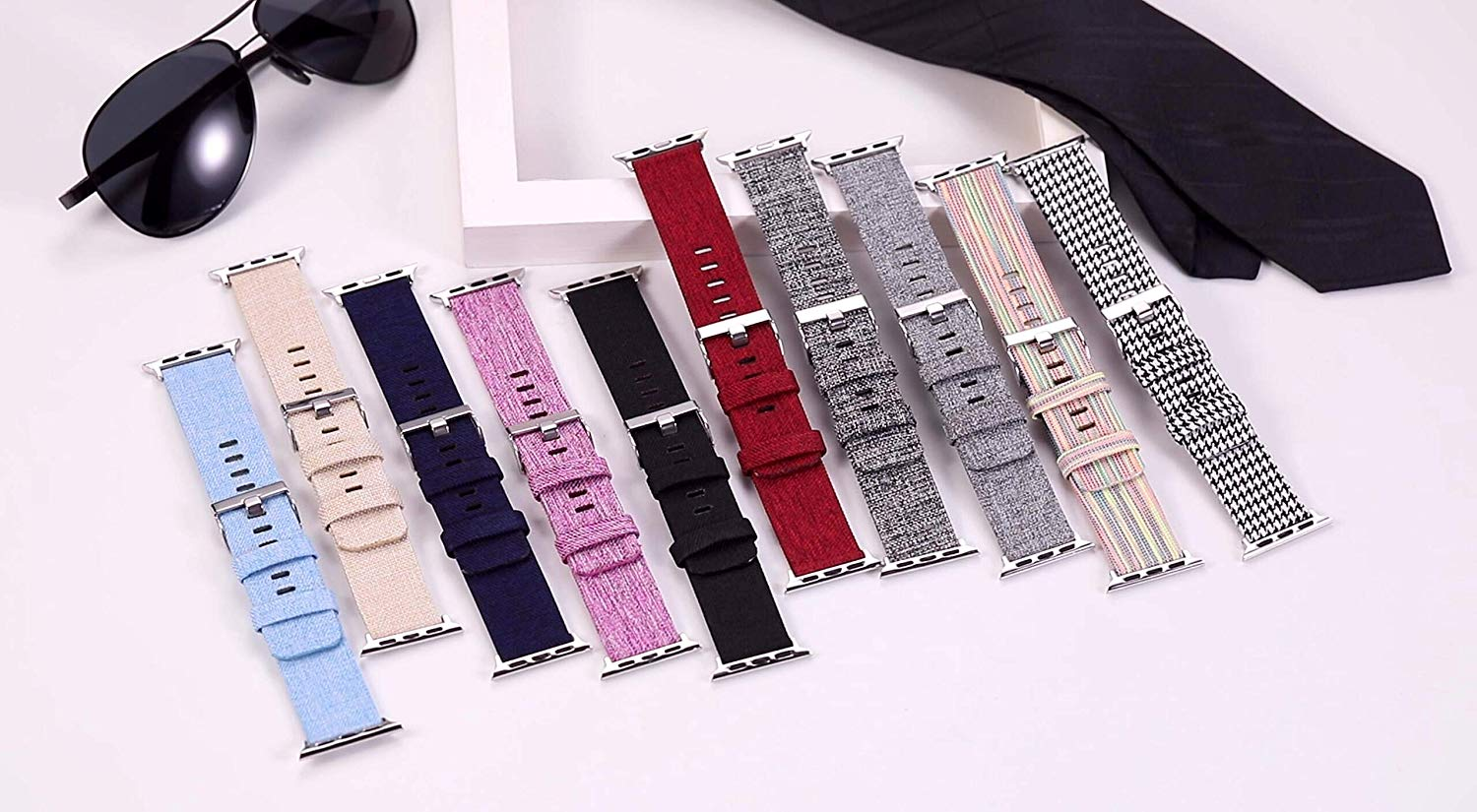 Bands Compatible with Apple Watch Band 38mm 40mm 42mm 44mm Woven Fabric Canvas Wrist Band