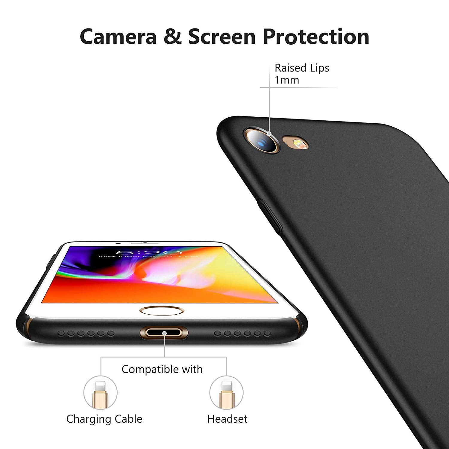 Hard Plastic Full Protective Anti-Scratch Resistant Slim Fit iPhone 8 & iPhone 7 Case