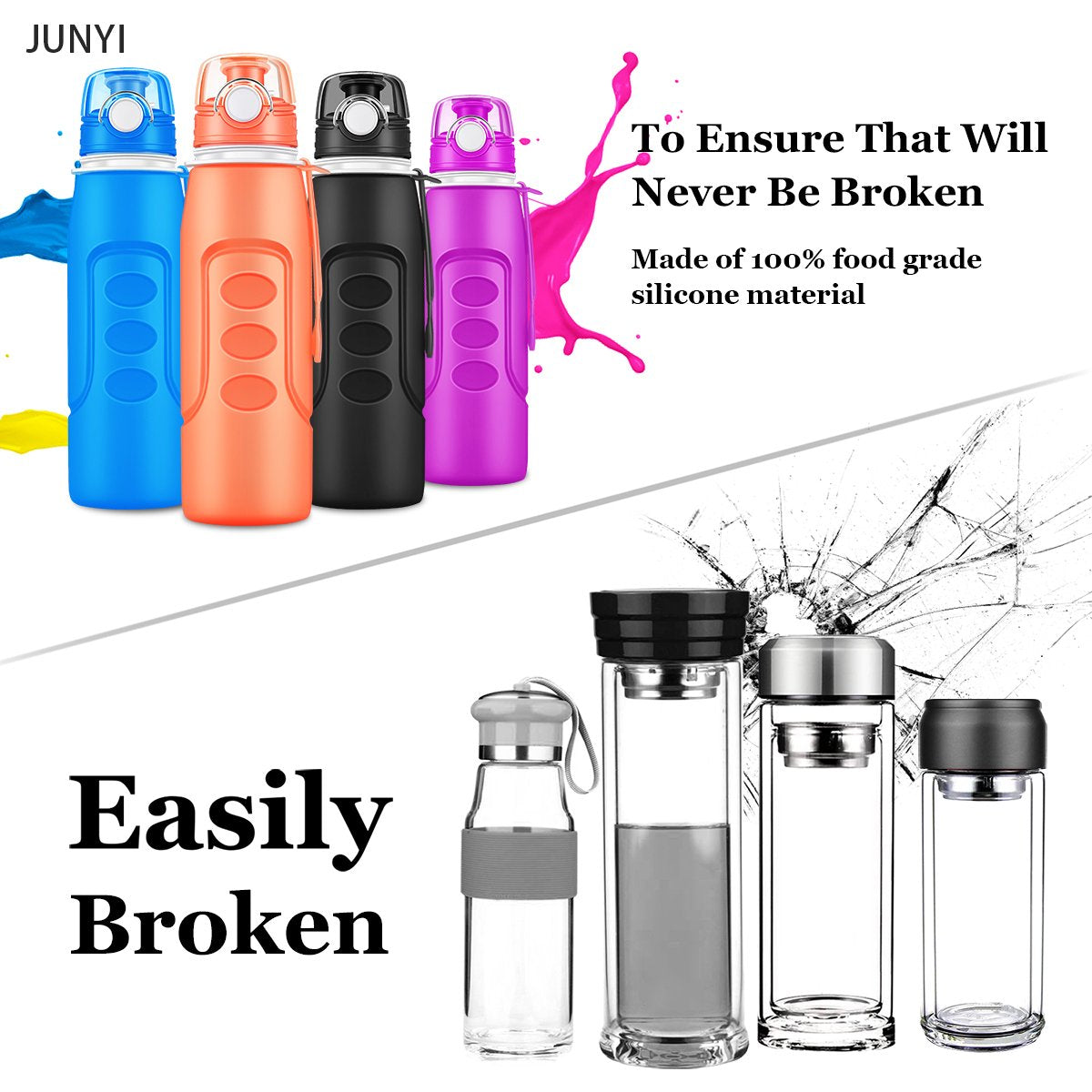 Sport Water Bottle, Non-Toxic Silicone Edible Material Drinking Water Bottle Collapsible Water Bottle Outdoor Sports Water Bottle 1000ML 34 Ounces