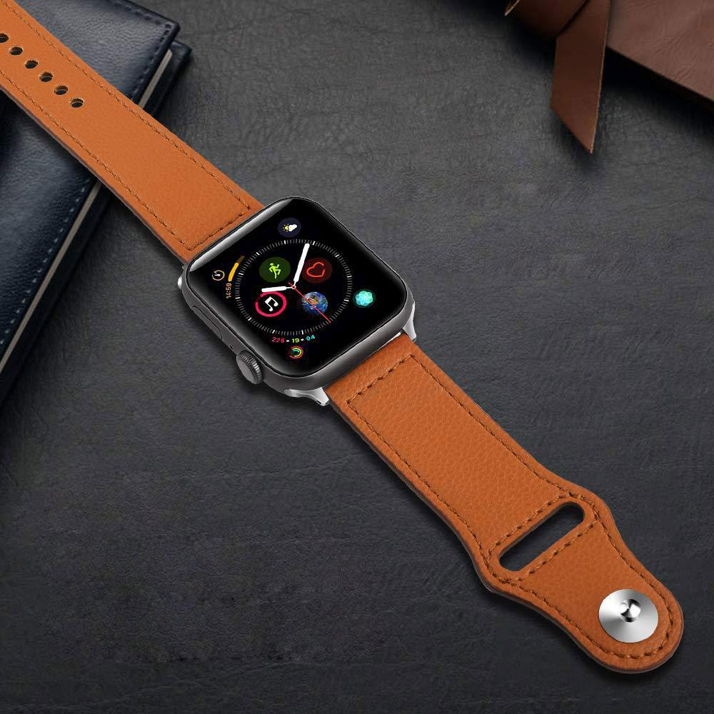 Apple Watch Band Genuine Leather Replacement Band Strap Compatible with Apple Watch Series 4 3 2 1