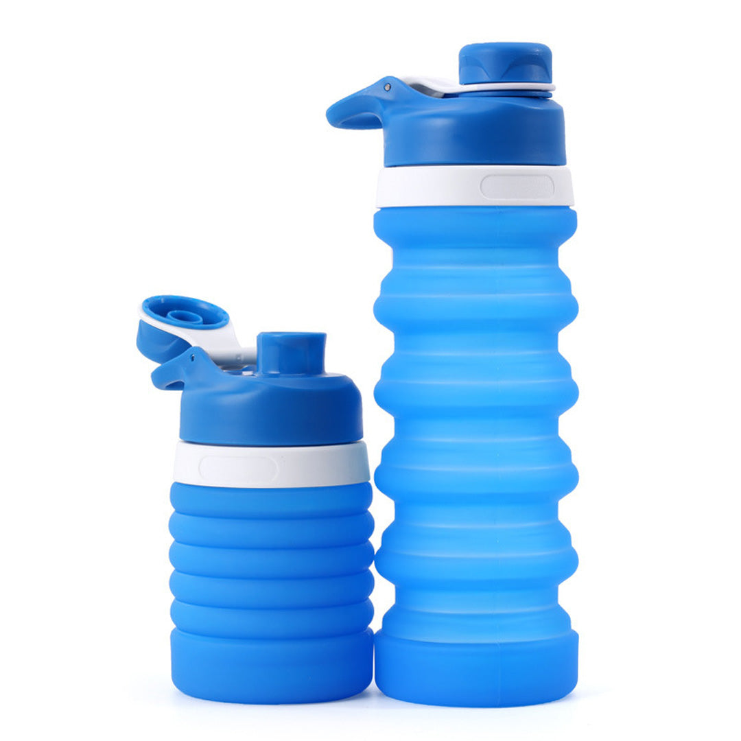 Collapsible Water Bottle Silicone 550ML BPA Free Sports Travel Bottles FDA Approved
