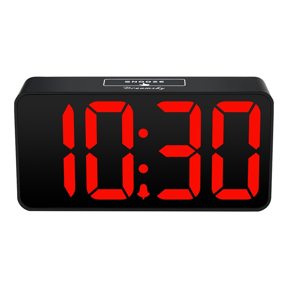 Digital Alarm Clock with USB Port for Charging, Adjustable Brightness Dimmer