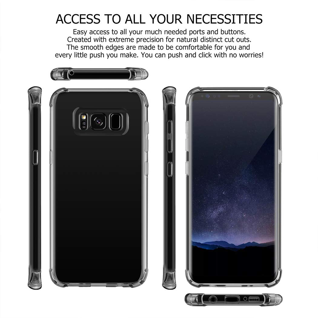 Samsung Galaxy s10 plus s9 Slim Fit Premium Hybrid Shock Absorbing & Scratch Resistant TPU Bumper Clear Case Cover