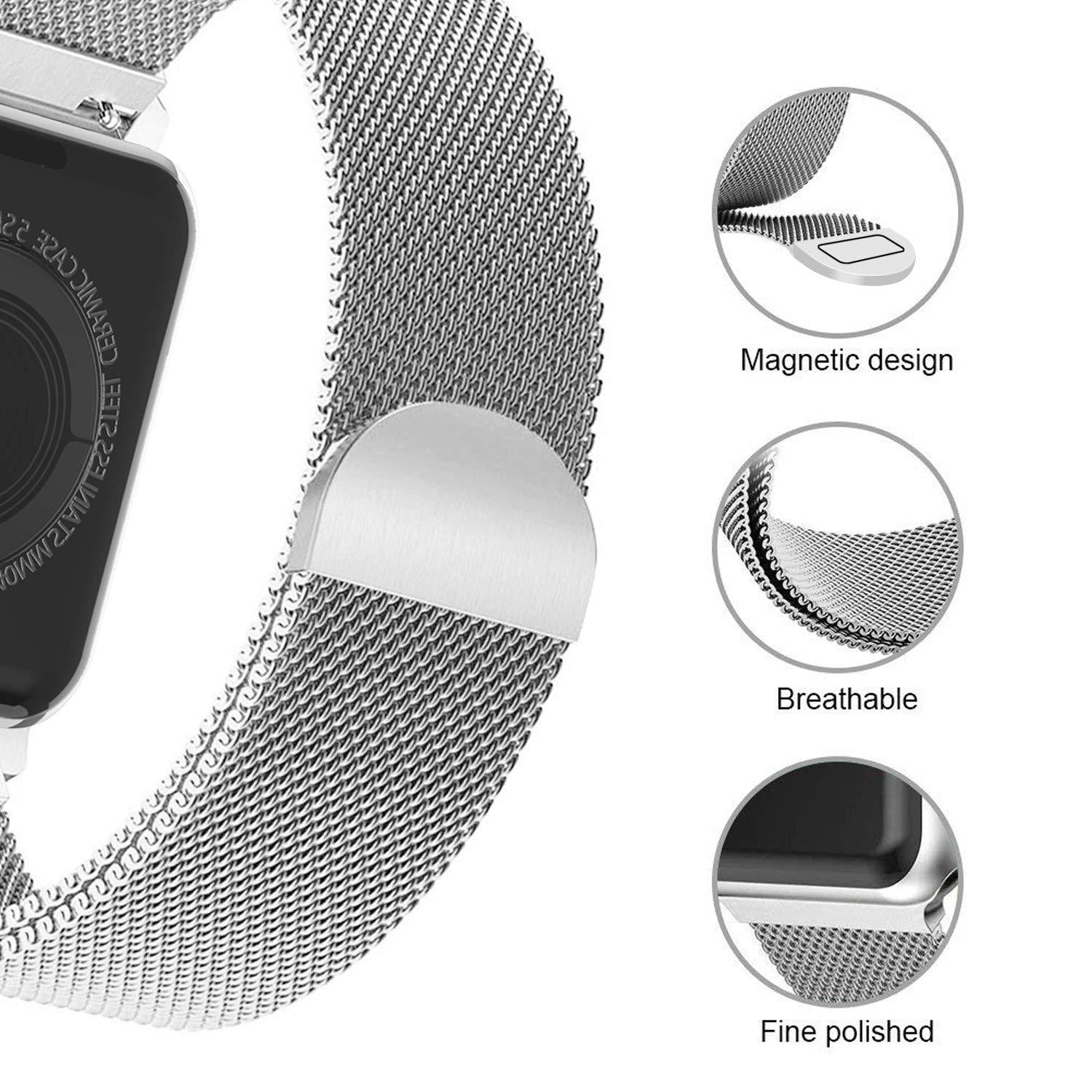 Apple Watch Band Stainless Steel Milanese Loop Replacement Strap with Magnetic Closure Series 4 3 2 1