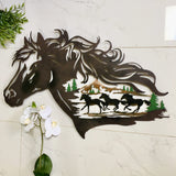 Handmade Metal Western Horse Shadow - Wall Hanging Arts - Clearance SALE