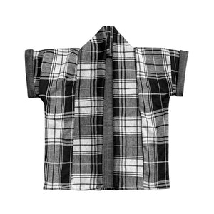 Unisex Short Sleeve Kids Kimono Black & White Check | Josiah Amari