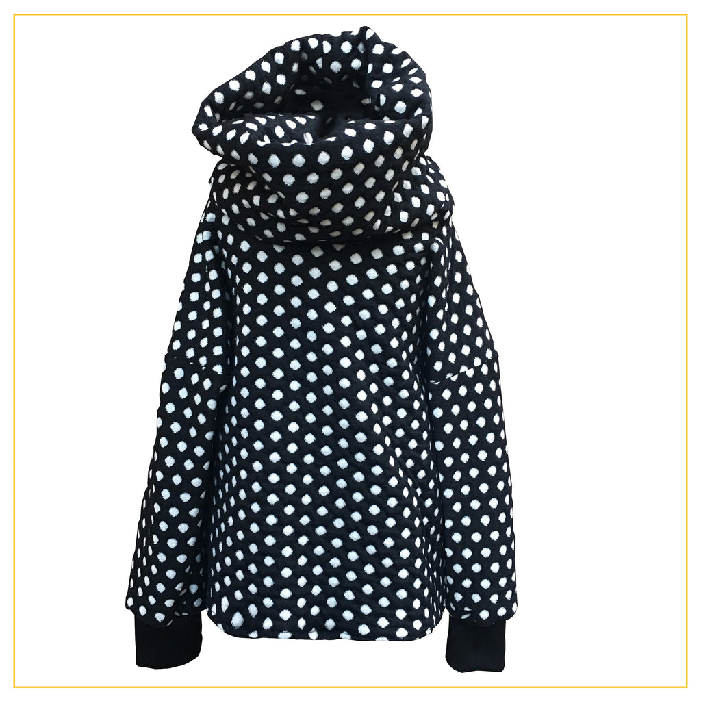 black and white long sleeve polkadot cowl neck jumper