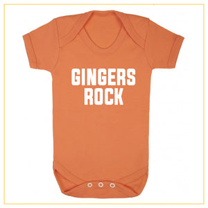 gingers rock novelty baby onesie in orange