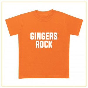 gingers rock kids novelty t-shirt in orange