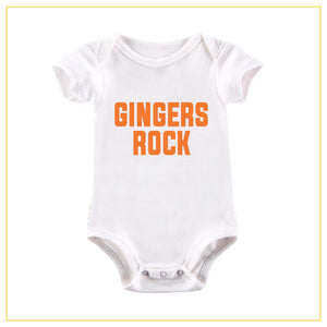 gingers rock novelty baby onesie in white with orange print