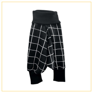 unisex kids harems pants in black and white checked print
