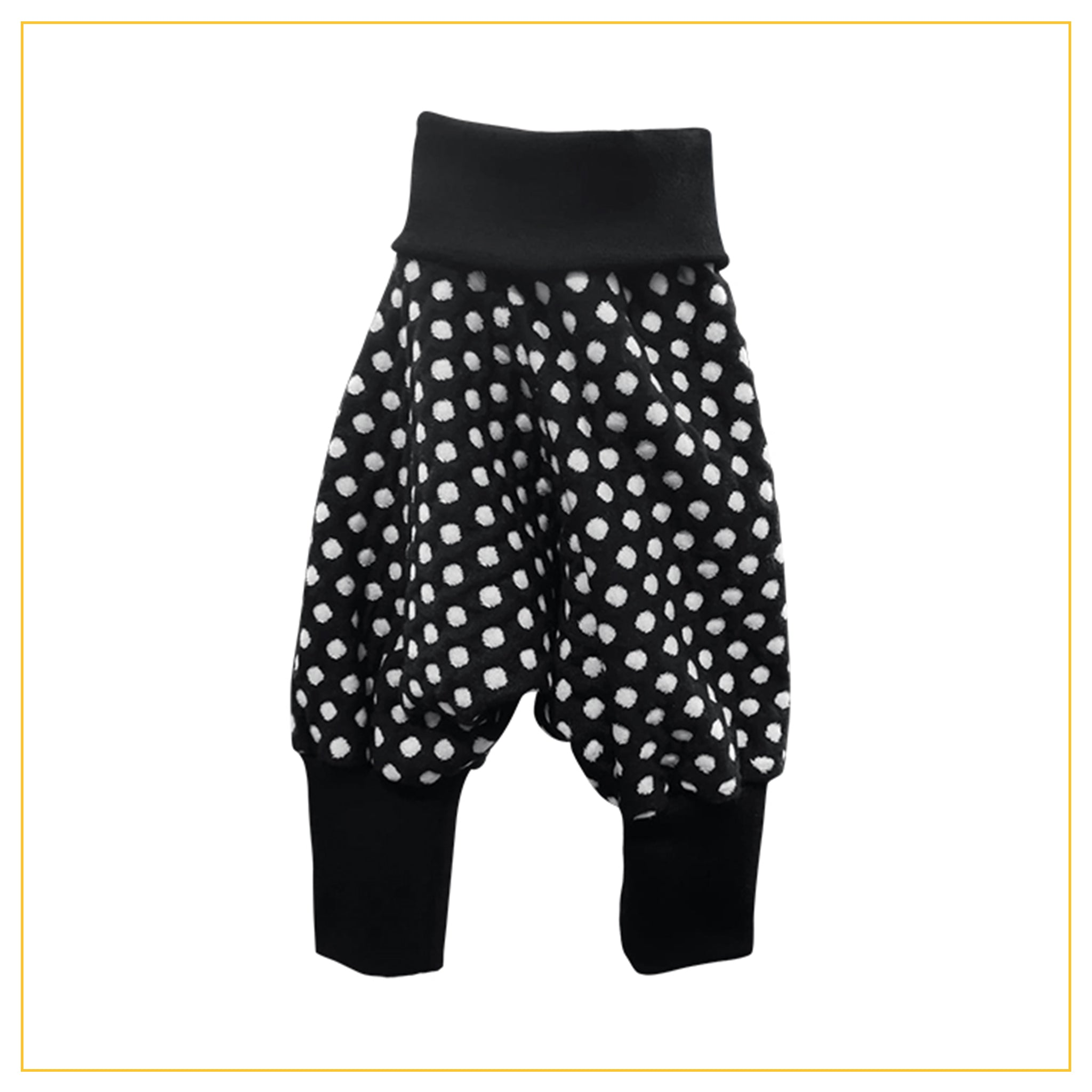 unisex kids harems pants in black and white polka dot print