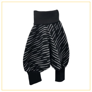 unisex kids harems pants in black and white storm print