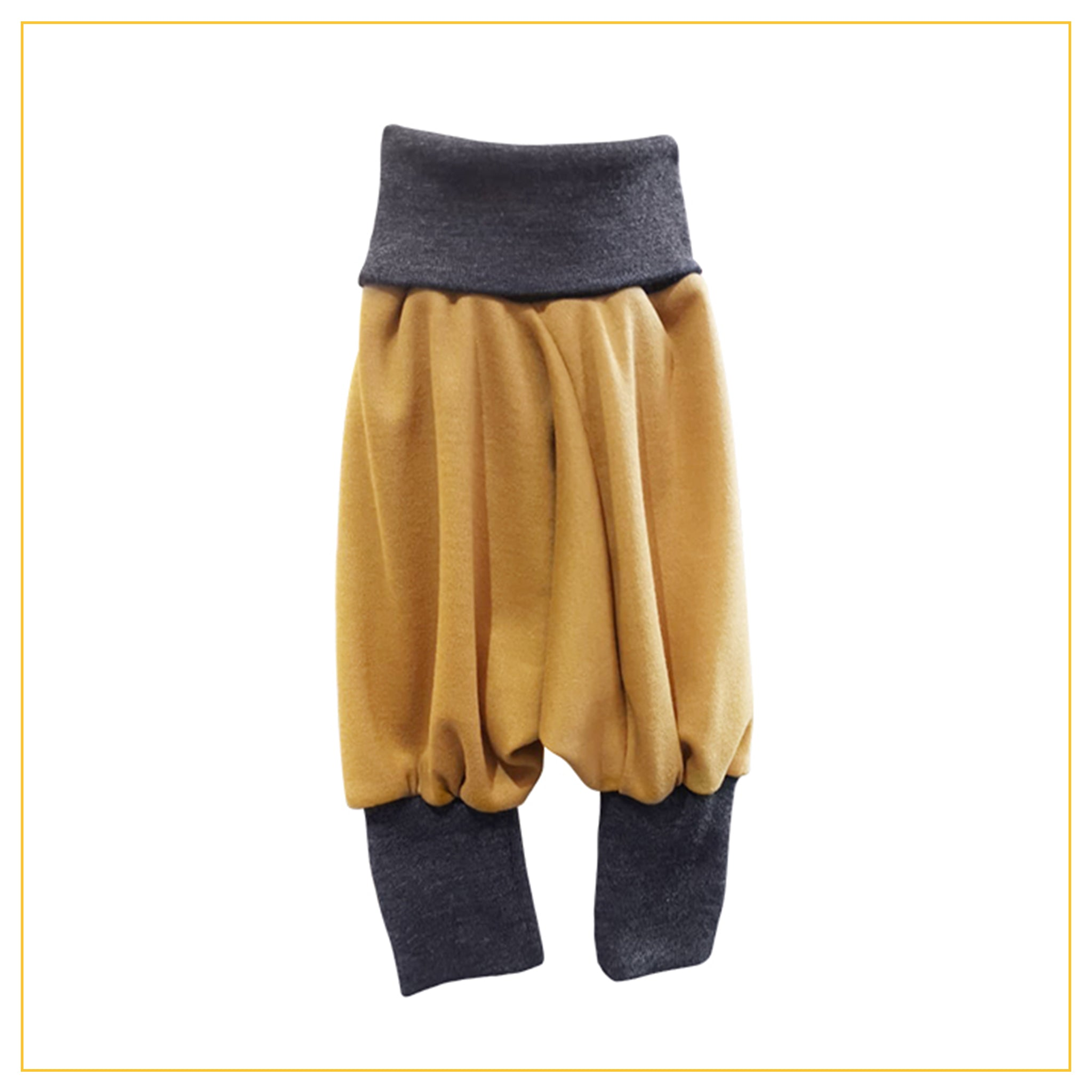 unisex kids harems pants in mustard