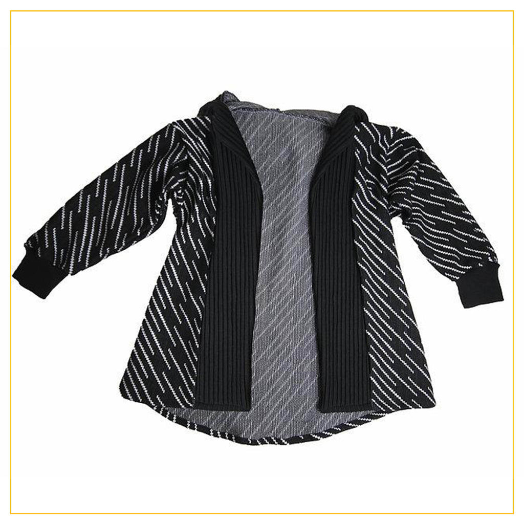 long sleeve kimono hoodie in black and white