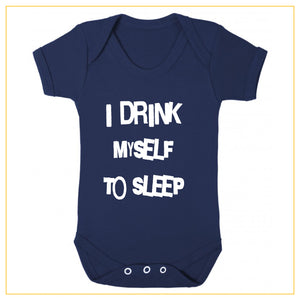 I drink myself to sleep baby onesie in navy blue