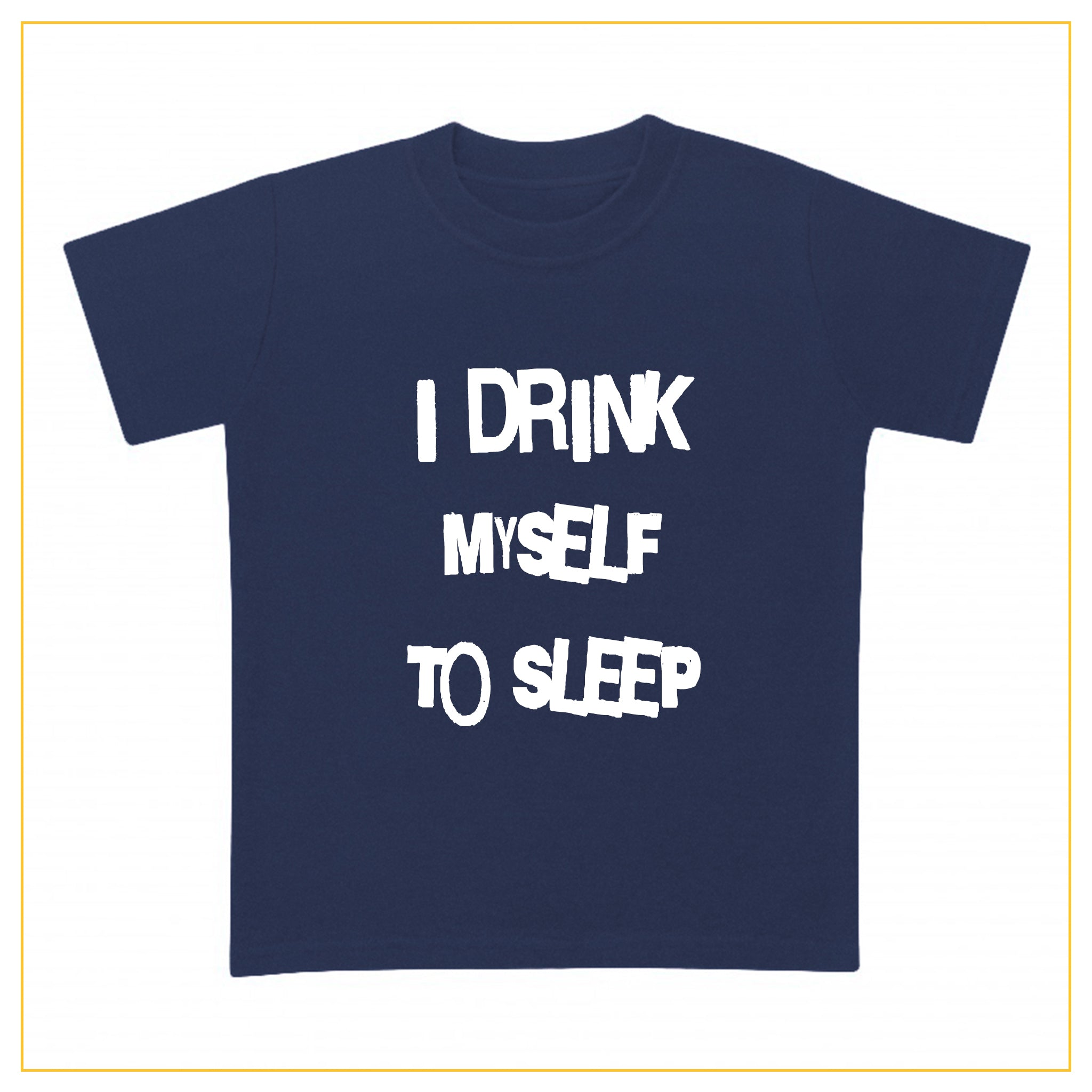 I drink myself to sleep baby t-shirt in navy blue