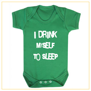 I drink myself to sleep baby onesie in green