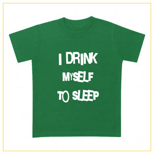 I drink myself to sleep baby t-shirt in green