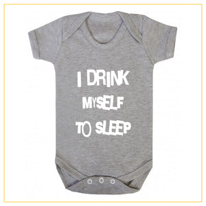I drink myself to sleep baby onesie in grey