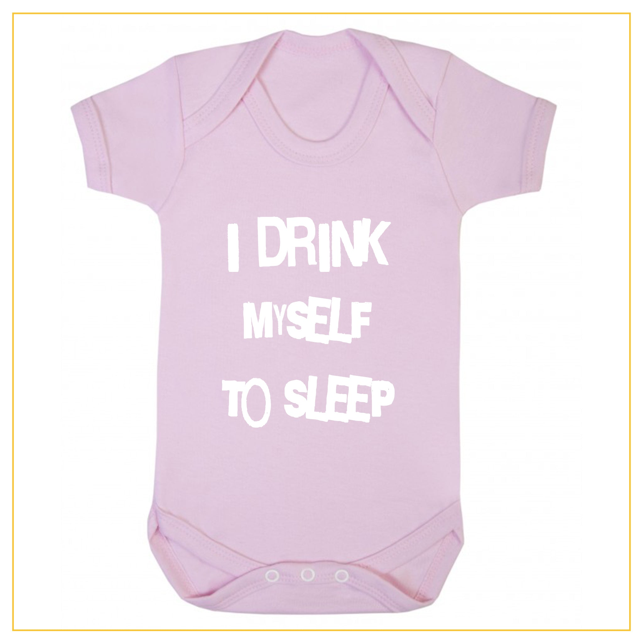 I drink myself to sleep baby onesie in dust pink