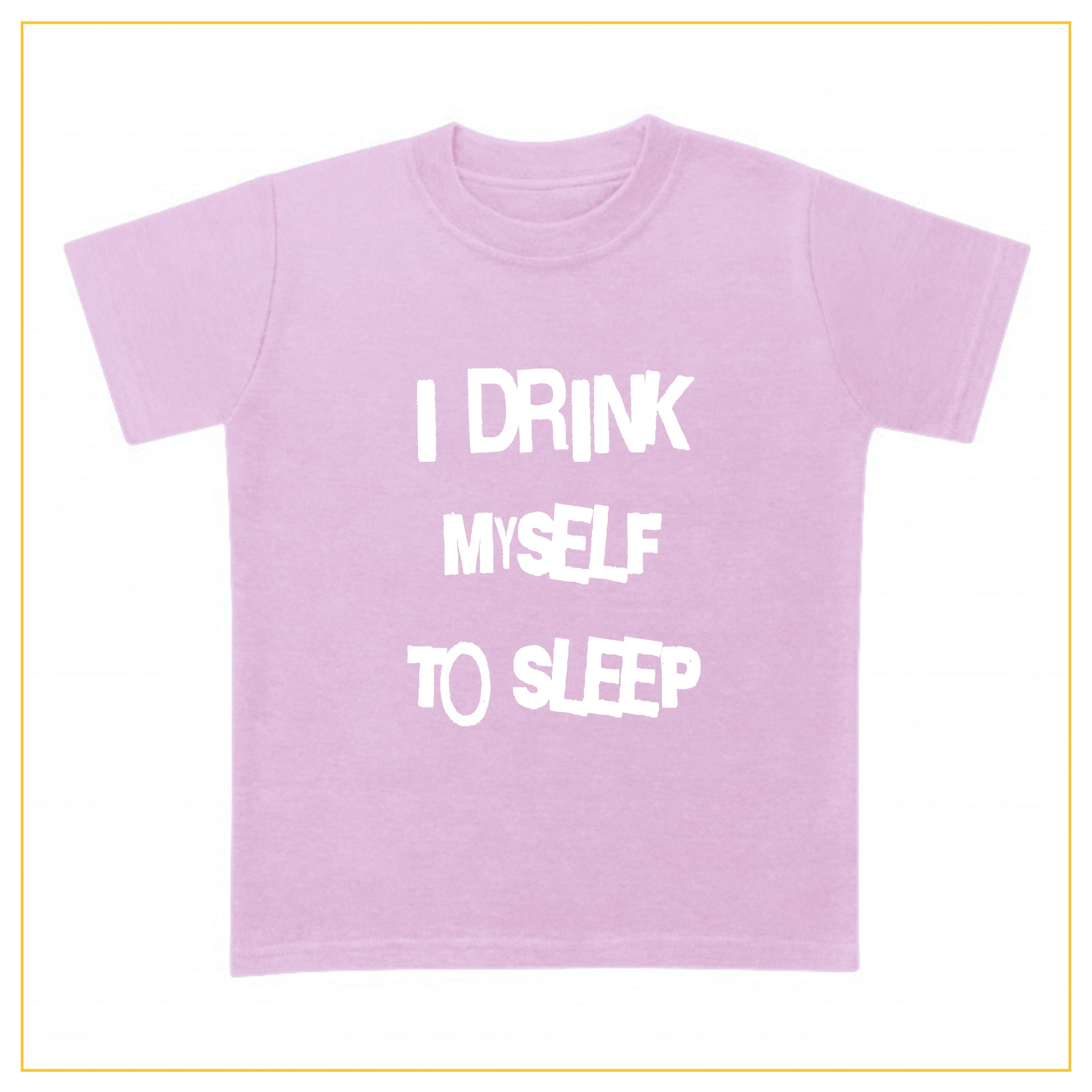 I drink myself to sleep baby t-shirt in dust pink