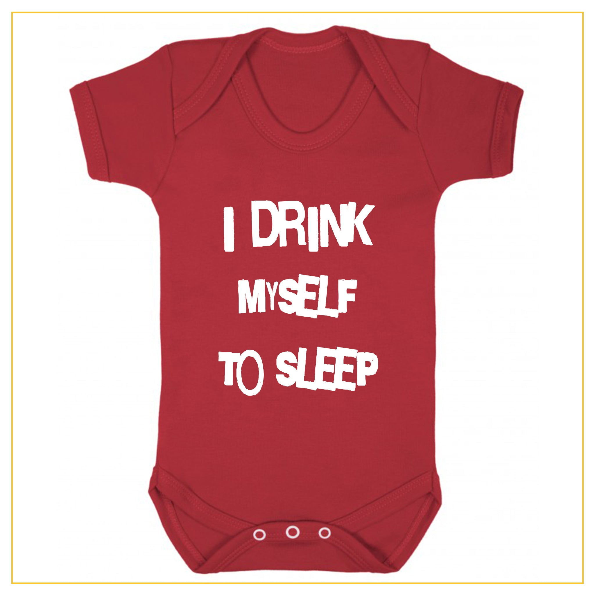 I drink myself to sleep baby onesie in red