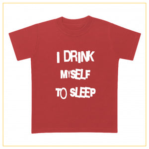 I drink myself to sleep baby t-shirt in red