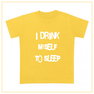 I drink myself to sleep baby t-shirt in yellow