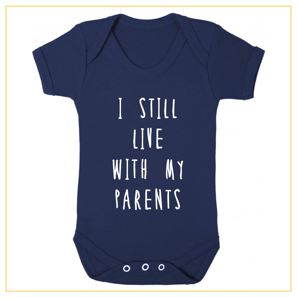 I still live with my parents baby onesie in navy blue